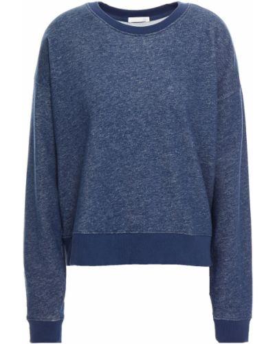 Prążkowana niebieska bluza dresowa skórzana Skin