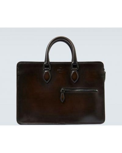 С ремешком черный портфель из натуральной кожи с тиснением Berluti