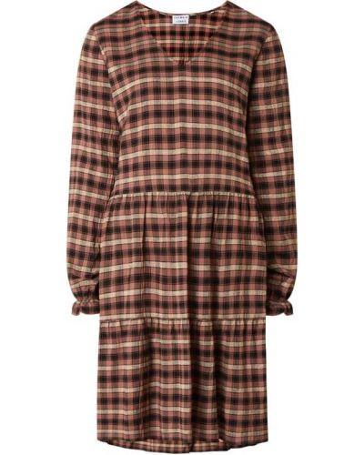 Brązowa sukienka rozkloszowana z dekoltem w serek Catwalk Junkie