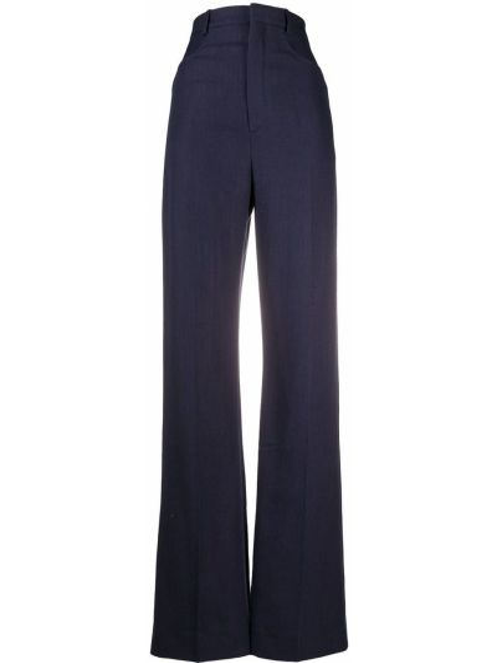 Bawełna spodni niebieski spodnie o prostym kroju z paskiem Jacquemus