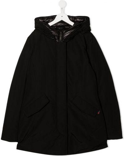 Классическая черная куртка с капюшоном с перьями Woolrich Kids