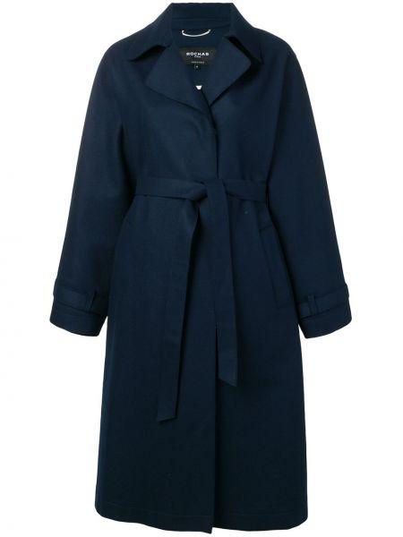 Niebieski płaszcz wełniany elegancki Rochas