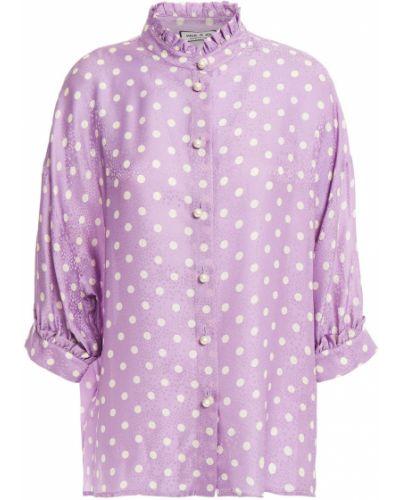 Фиолетовая шелковая блузка с опушкой Paul & Joe