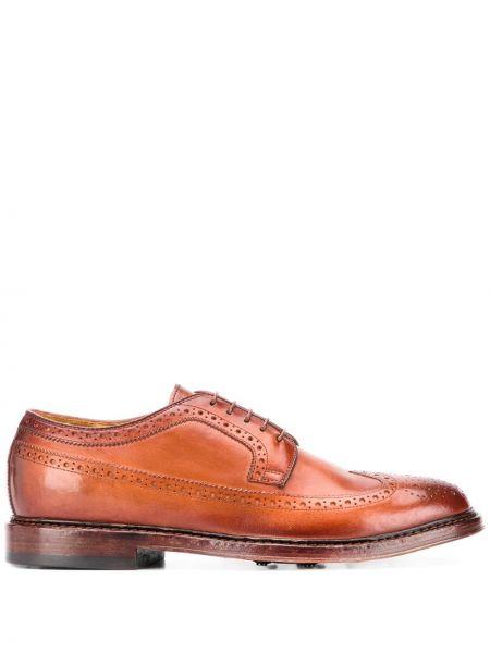 Ażurowy brązowy buty brogsy z prawdziwej skóry na sznurowadłach Officine Creative