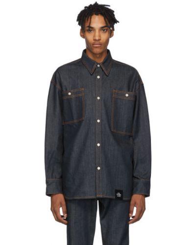 Niebieska koszula jeansowa z długimi rękawami srebrna S.r. Studio. La. Ca.