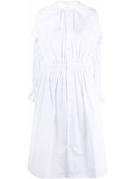 Хлопковое белое платье макси с длинными рукавами Comme Des Garçons Noir Kei Ninomiya