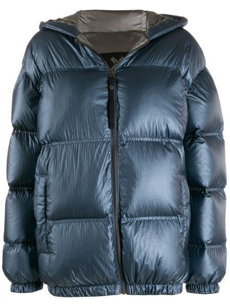 Синяя куртка с капюшоном на молнии узкого кроя с перьями Mr & Mrs Italy