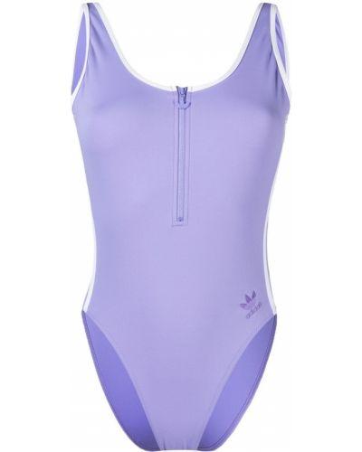 Фиолетовый пляжный открытый купальник с шортами Adidas