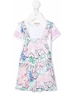 Biała sukienka mini krótki rękaw z wiskozy Kenzo Kids
