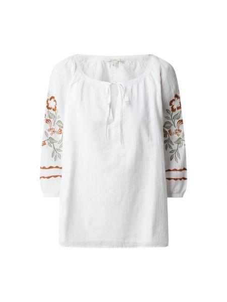 Biała bluzka bawełniana z wiązaniami Esprit