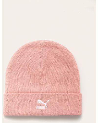 Шапка бини с отворотом розовый Puma