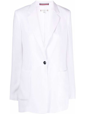 Однобортный белый классический пиджак на пуговицах Tommy Hilfiger