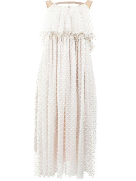 Шелковое приталенное платье с вышивкой без рукавов Litkovskaya
