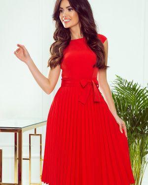 Czerwona sukienka z paskiem materiałowa Numoco