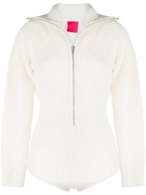 Кашемировое облегающее белое боди с длинными рукавами на молнии Cashmere In Love