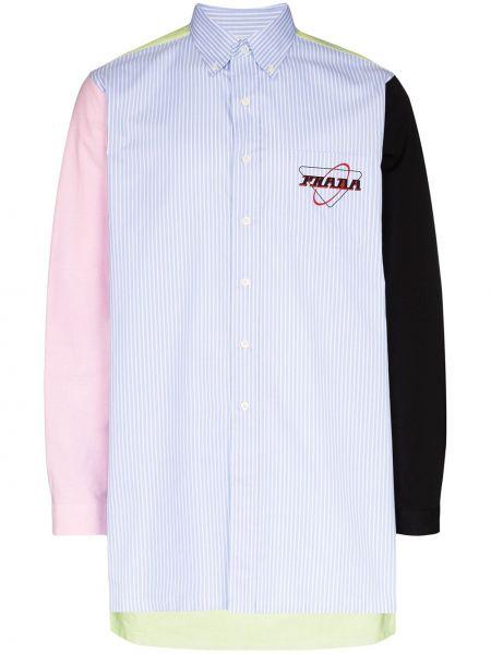 Koszula z długim rękawem w paski z paskami Prada