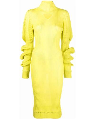 Платье миди в рубчик - желтое Bottega Veneta