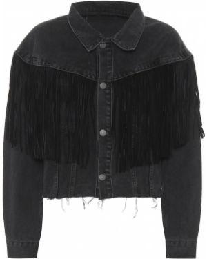 Хлопковая классическая черная джинсовая куртка с американской проймой Grlfrnd