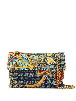 С ремешком золотистая сумка на цепочке с вышивкой Kurt Geiger London