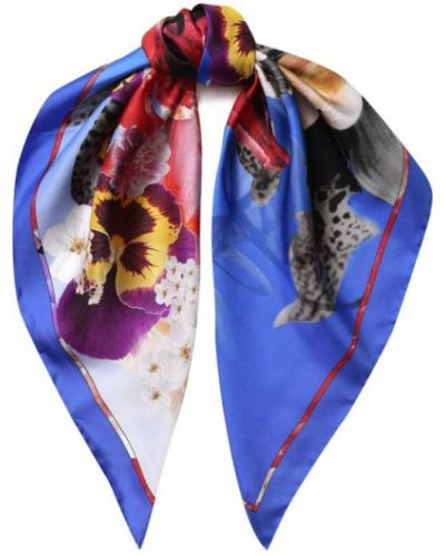 Синий шелковый платок Roberto Cavalli