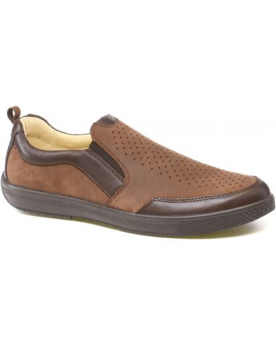 Кожаные коричневые туфли с перфорацией Тигина
