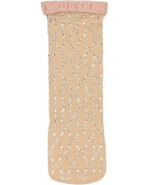 Носки со стразами в полоску Gucci