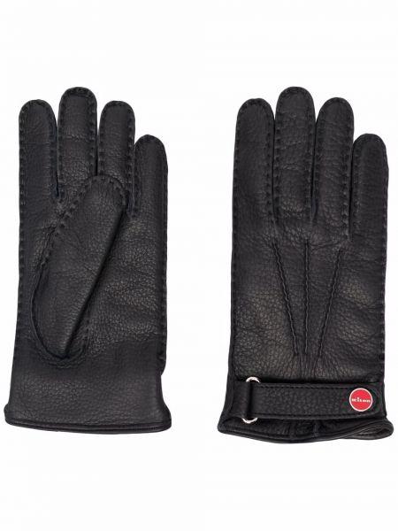 Кожаные черные перчатки с подкладкой Kiton