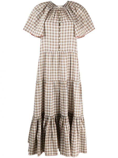Расклешенное платье мини в клетку с вырезом The Great.