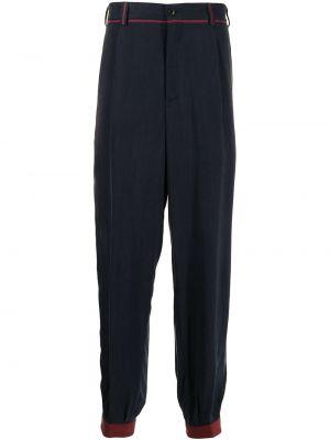 Niebieskie spodnie z paskiem z aksamitu Giorgio Armani