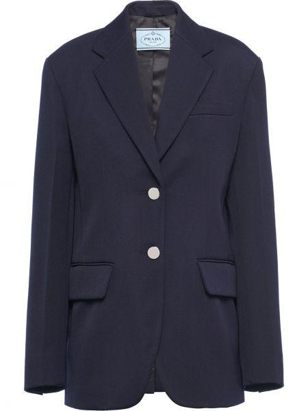 Темно-синий классический пиджак с карманами из габардина с лацканами Prada