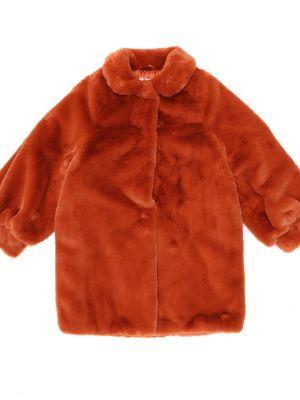 Czerwony płaszcz prążkowany sztuczne futro Il Gufo