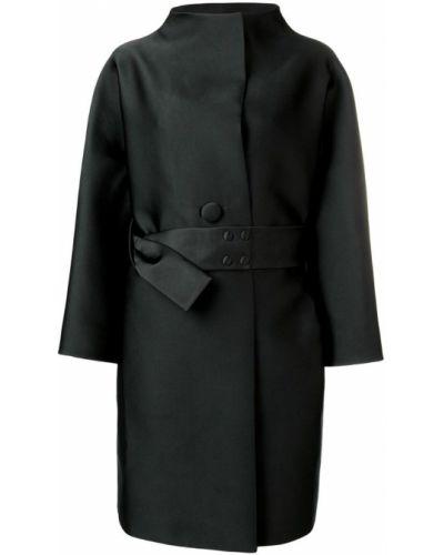 Черное длинное пальто с капюшоном Paule Ka