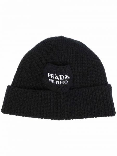 Prążkowany czarny kapelusz wełniany Prada