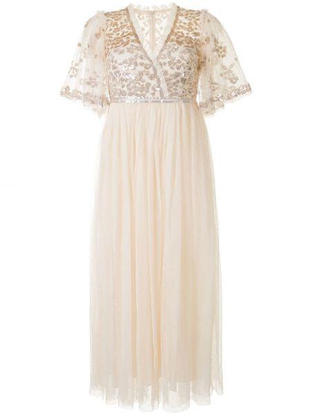Платье мини из фатина с пайетками с V-образным вырезом на молнии Needle & Thread