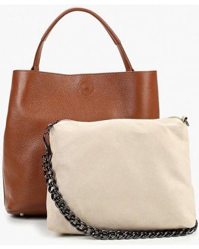 Кожаная сумка шоппер коричневый Madeleine