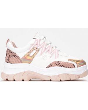 Różowe sneakersy materiałowe Multu