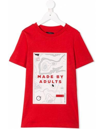Красная хлопковая прямая футболка в рубчик Les Bohemiens Kids