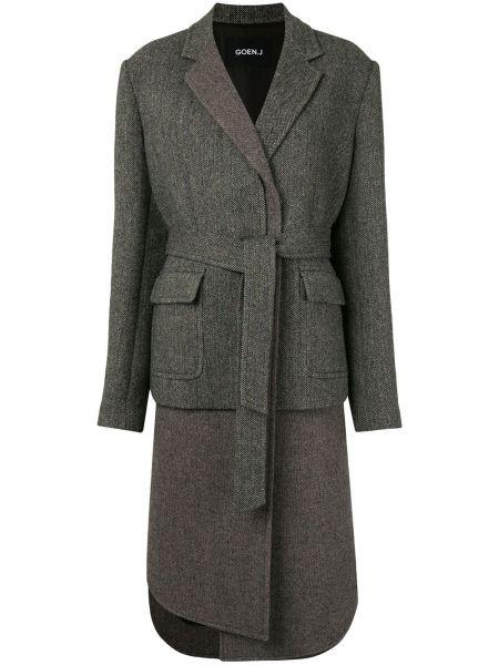 Шерстяное серое пальто на пуговицах с лацканами Goen.j