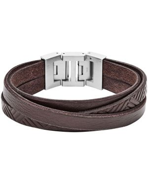 Кожаный браслет - коричневый Fossil