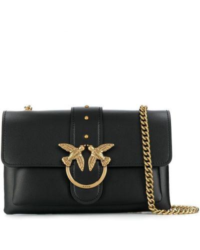 Черная кожаная сумка через плечо на молнии Pinko