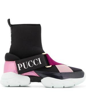 Slipony skórzany czarny Emilio Pucci