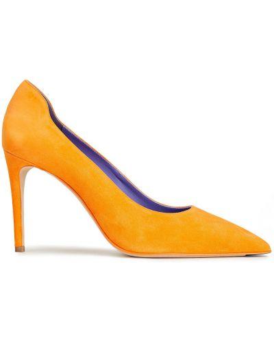 Pomarańczowe czółenka skorzane w szpic Victoria Beckham