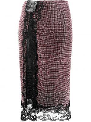 Ажурная розовая юбка миди с разрезом Christopher Kane