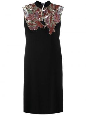 Шерстяное прямое черное платье Salvatore Ferragamo