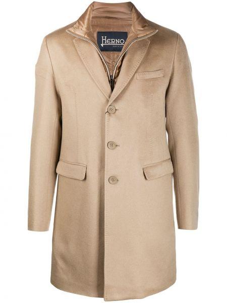 Klasyczny z kaszmiru brązowy płaszcz Herno