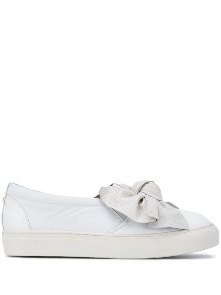 Biały skórzane sneakersy z prawdziwej skóry okrągły nos okrągły Carvela