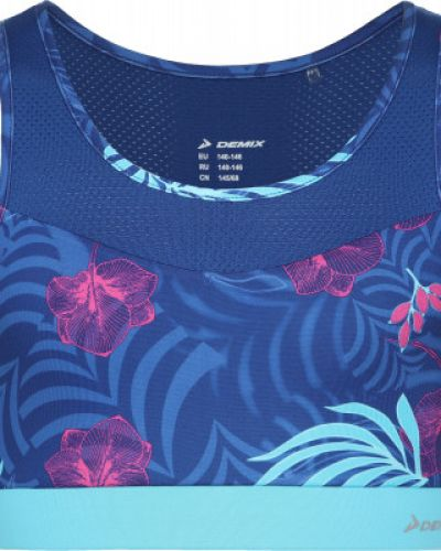 Облегченная кожаная спортивная синяя футболка Demix