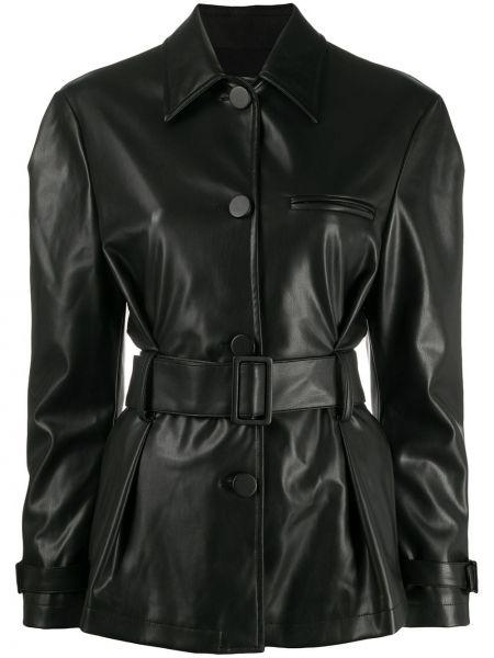Czarna klasyczna koszula z długimi rękawami skórzana Brognano