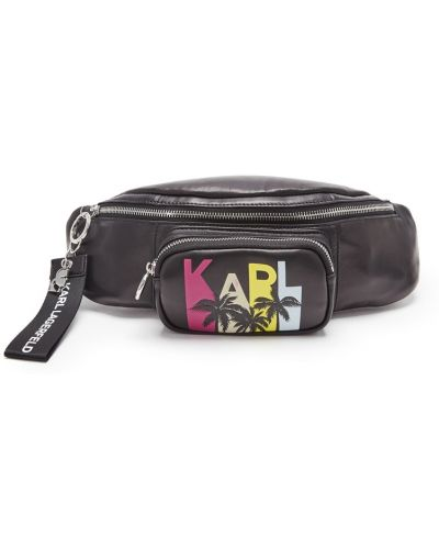 Кожаная сумка поясная черная Karl Lagerfeld