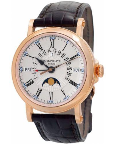 Золотистые кожаные часы на кожаном ремешке золотые Patek Philippe